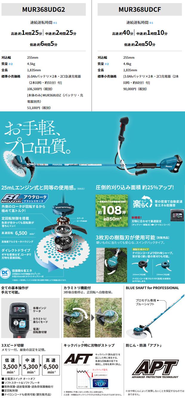 マキタ 36V 255mm充電式草刈機 【Uハンドル】MUR368UD