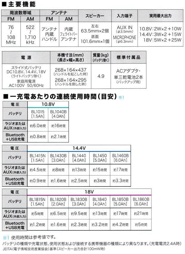 マキタ 充電式ラジオ MR113/B
