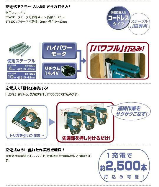 マキタ 14.4Vタッカ ST420DRF / ST120DRF