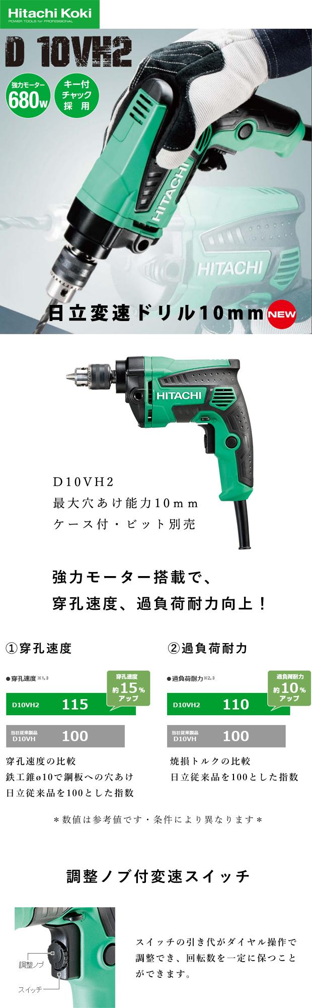 日立 変速ドリル D10VH2