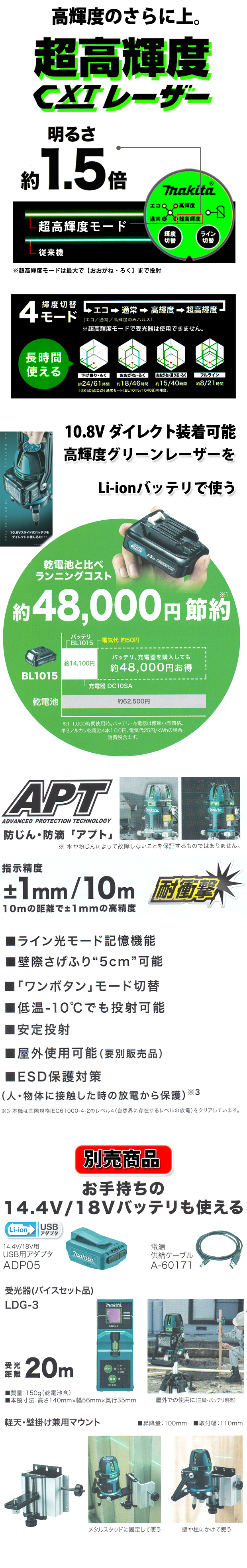マキタ 10.8V充電式室内・屋外兼用墨出し器SK209GDZN+BL1040B+DC10SAセット