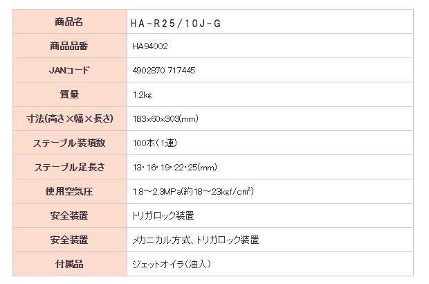 MAX 高圧ステープル用エアネイラ HA-R25/10J-G