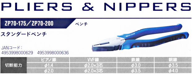 VICTOR PLUS+ ペンチ ZP70-175/ZP70-200