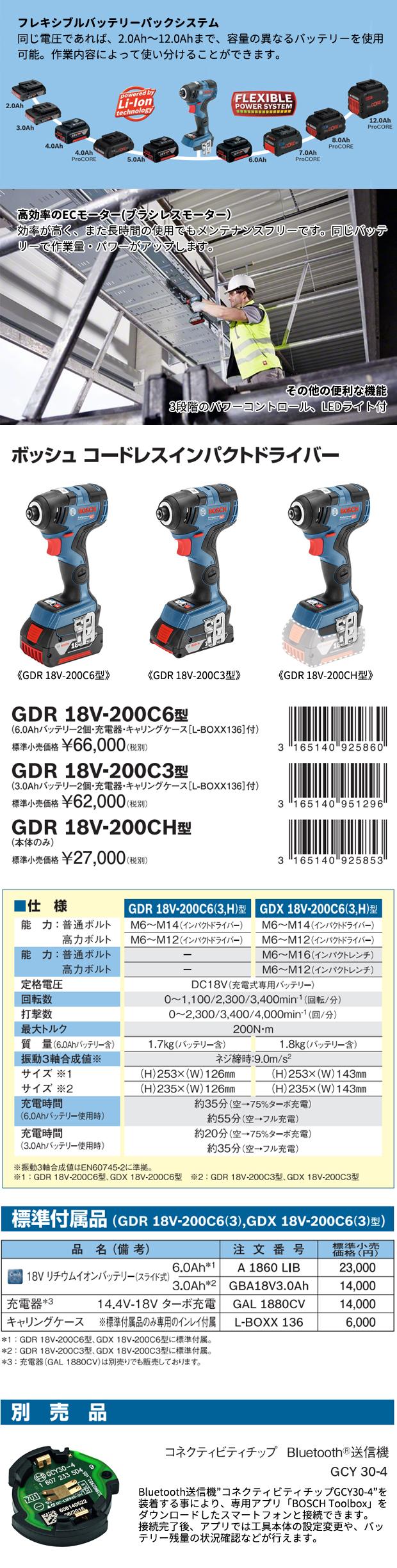 BOSCH コードレスインパクトドライバー GDR18V-200C