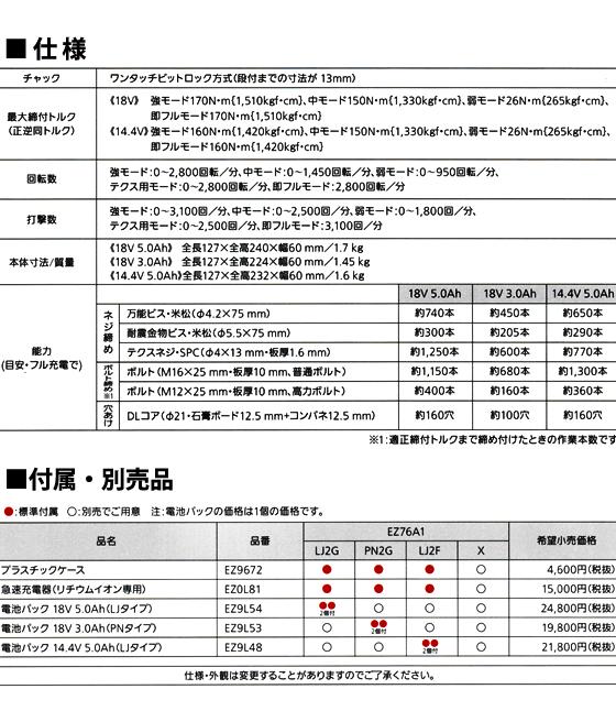 パナソニック 充電インパクトドライバーEZ76A1(14.4V)