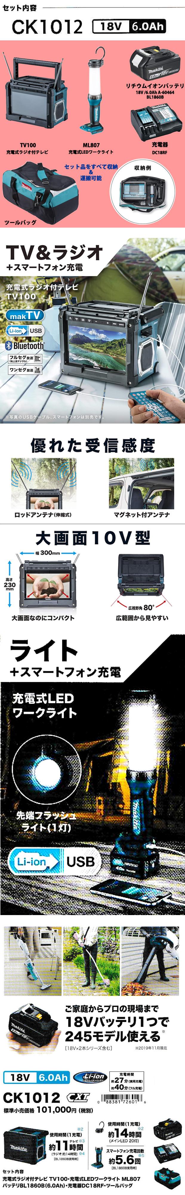 マキタ 18V/6.0Ah防災用コンボキット CK1012