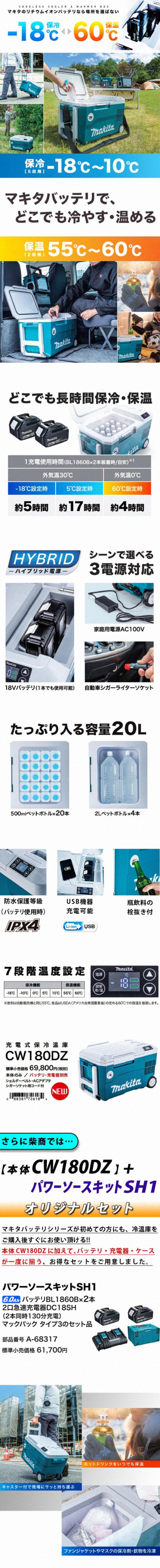マキタ 充電式保冷温庫 CW180DZ