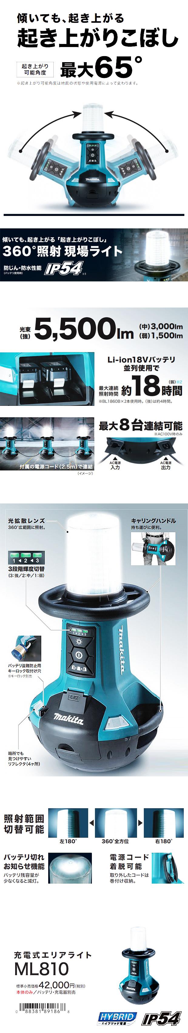マキタ 充電式エリアライト ML810