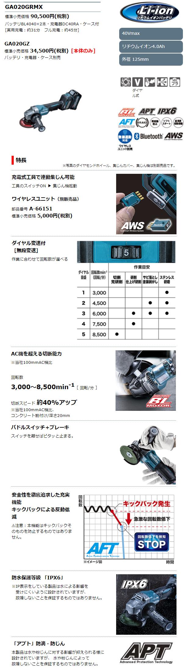 マキタ 40VMAX 125mmパドルスイッチ充電式ディスクグラインダ GA020GRMX/GZ