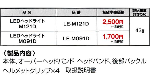 タジマ 建築向けLEDヘッドライト【M121D】【M091D】