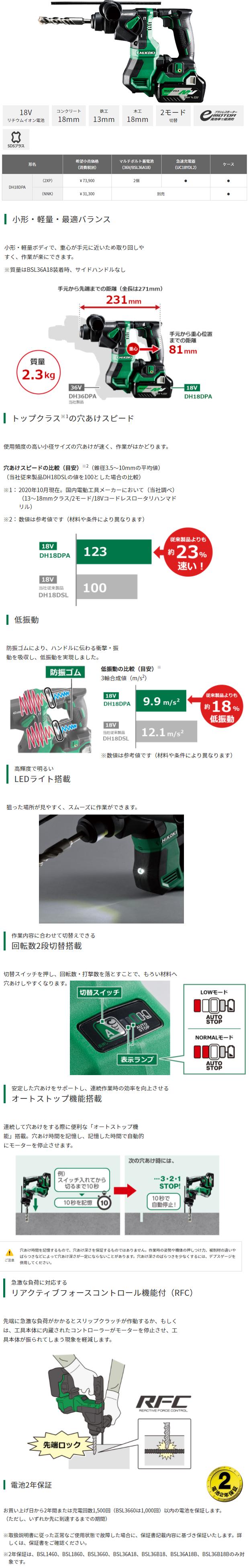 HiKOKI マルチボルトロータリハンマドリル DH18DPA