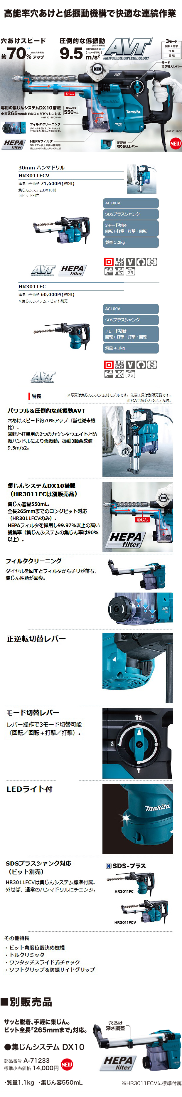 マキタ 30mmハンマドリル HR3011FCV/FC