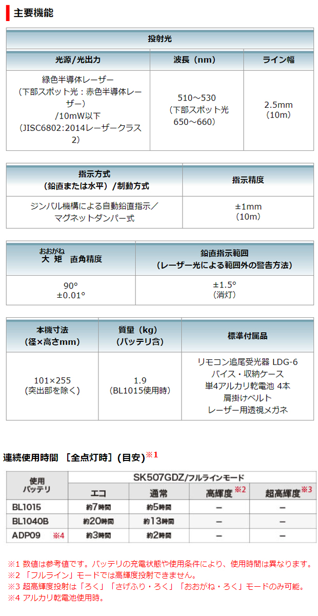 マキタ 10.8V充電式室内・屋外兼用墨出し器SK507GDZ+BL1040B+DC10SAセット