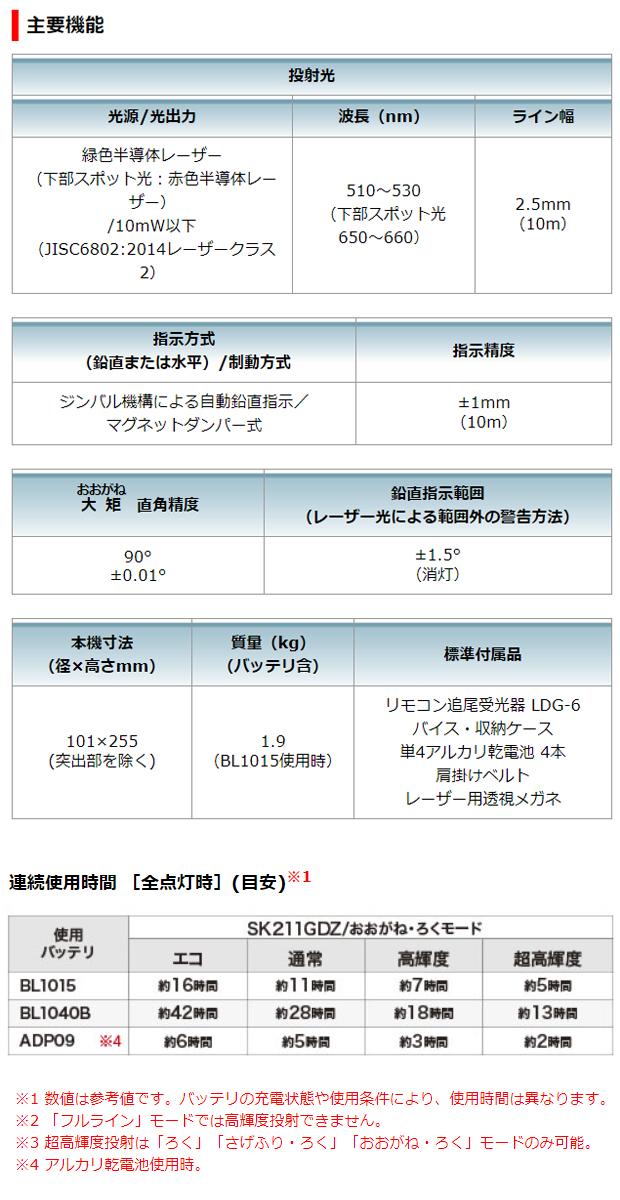 マキタ 10.8V充電式室内・屋外兼用墨出し器SK211GDZ+BL1040B+DC10SAセット