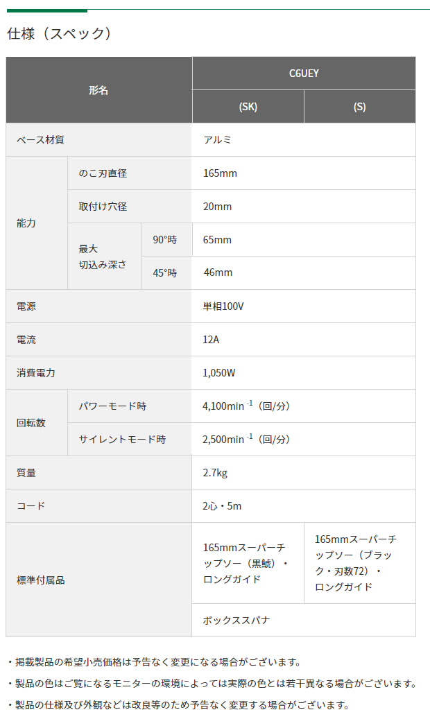 HiKOKI 165mm 深切り電子造作丸のこ C6UEY(SK)